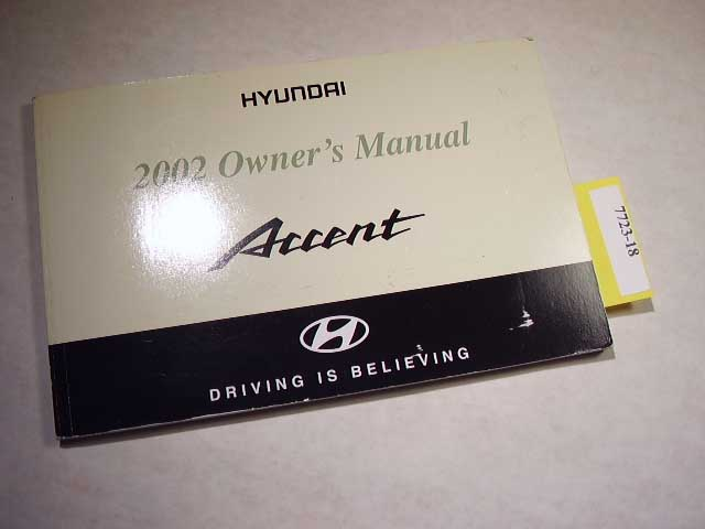 2002 Hyundai Accent Owners Manual