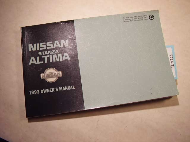 1993 Nissan Stanza Altima Owners Manual