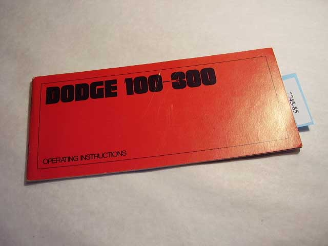 1969 Dodge 100-300 Owners Manual