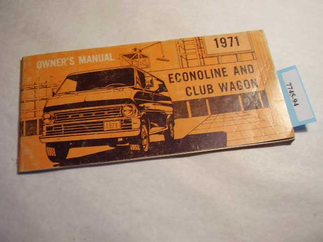 1971 Ford Econoline and Club Wagon Owners Manual