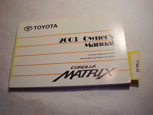 2003 Toyota Matrix Owners Manual