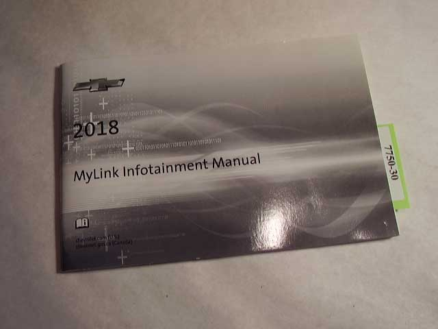 2018 Chevrolet Mylink infotainment manual only