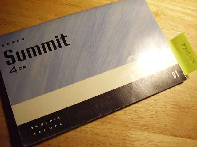 1991 Eagle Summit Owners Manual