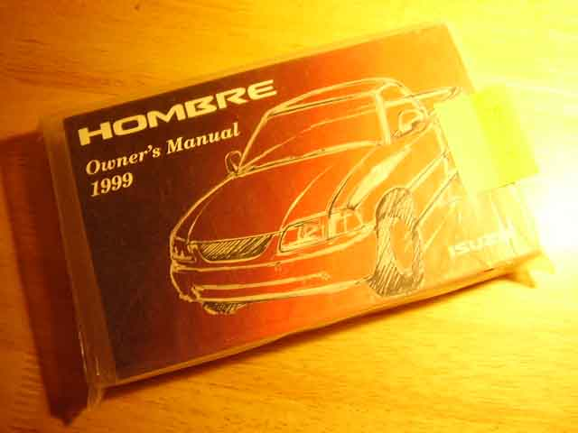 1999 Isuzu Hombre Owners Manual