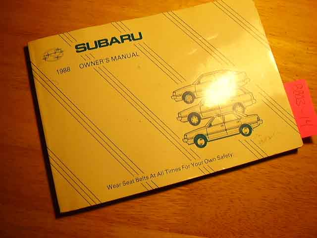 1988 Subaru All Models Owners Manual