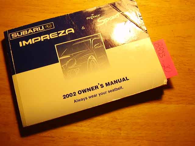 1992 Subaru Impreza Outback Owners Manual