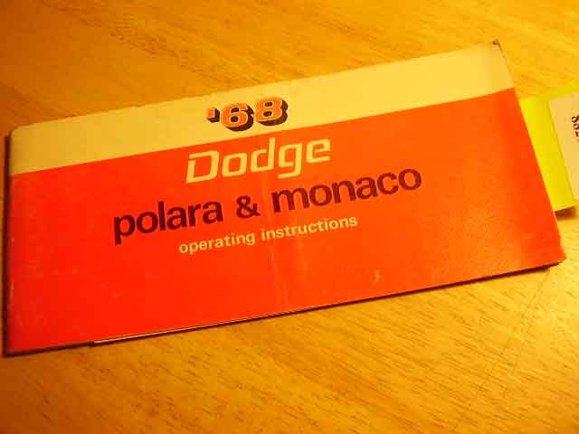 1968 Dodge Polara Monaco Owners Manuals