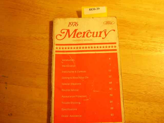 1976 Mercury All Models Owners Manual