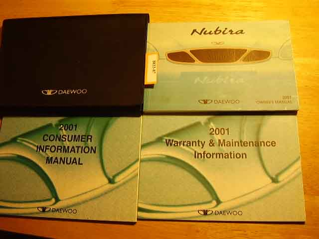 2001 Daewoo Nubira Owners Manual