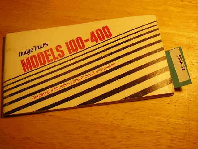 1981 Dodge 100-400 Truck Owners Manuals
