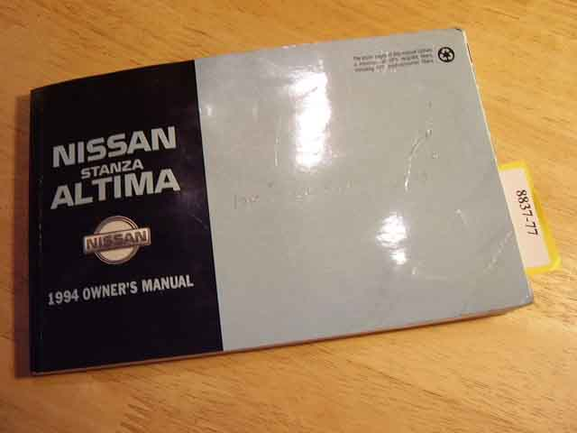 1994 Nissan Stanza Altima Owners Manual