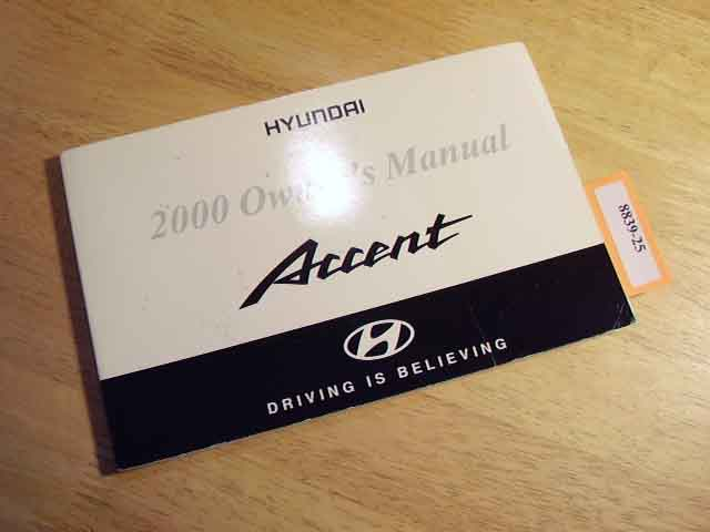 2000 Hyundai Accent Owners Manual