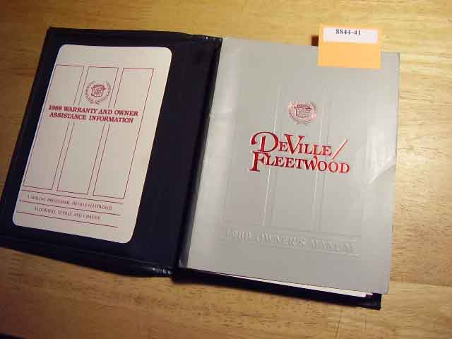 1988 Cadillac Deville Fleetwood Owners Manual