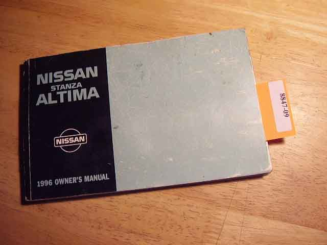 1996 Nissan Stanza Altima Owners Manual