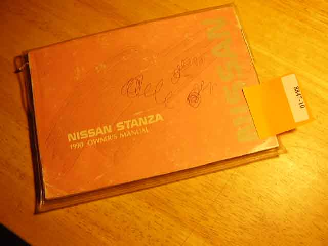 1990 Nissan Stanza Owners Manual