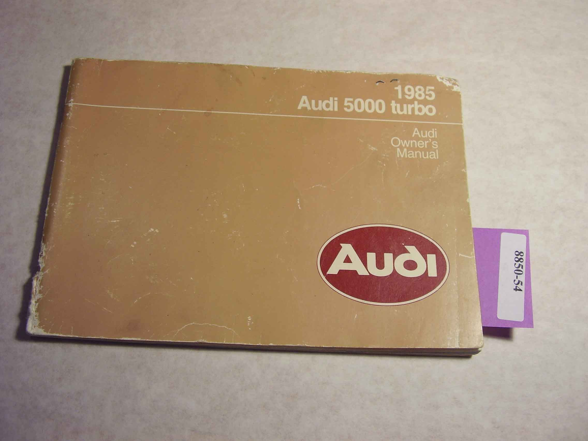 1985 Audi 5000 Turbo Owners Manual