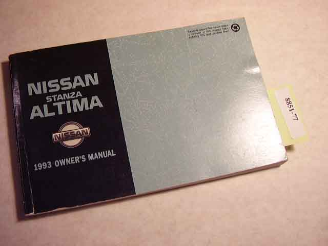 1993 Nissan Stanza Altima fOwners Manual