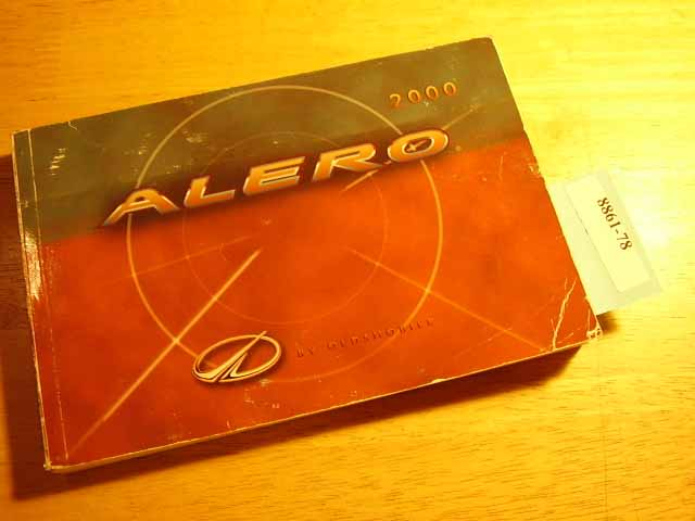 2000 Oldsmoblile Alero Owners Manual