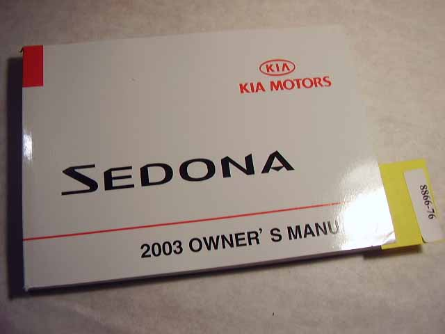 2003 Kia Sedona Owners Manual