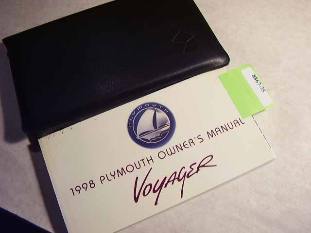 1998 Plymouth Voyager Owners Manual