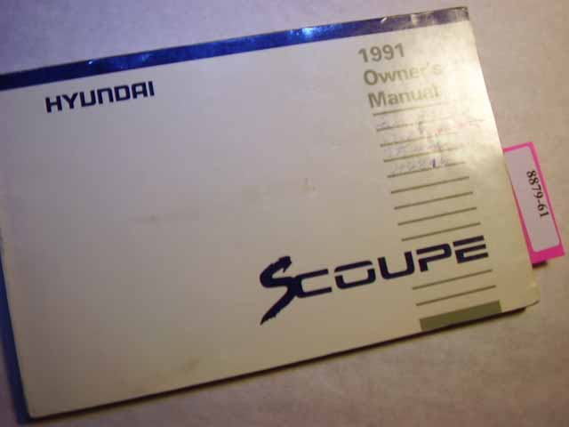 1991 Hyundai S Coupe Owners Manual