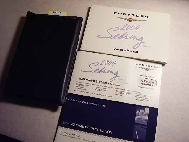 2004 Chrysler Sebring Sedan Owners Manuals