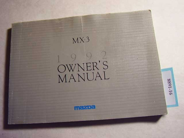 1992 Mazda MX-3 Owners Manual