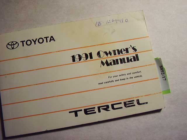 1991 Toyota Tercel Owners Manual
