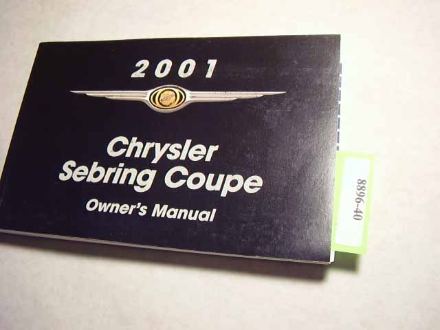 2001 Chrysler Sebring Coupe Owners Manuals